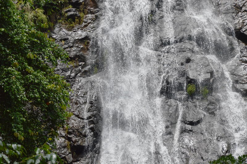 sunlit waterfall 图库摄影