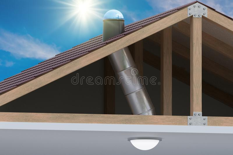 Sunlite light tube system for transporting natural daylight from roof into room. 3D rendered illustration royalty free illustration