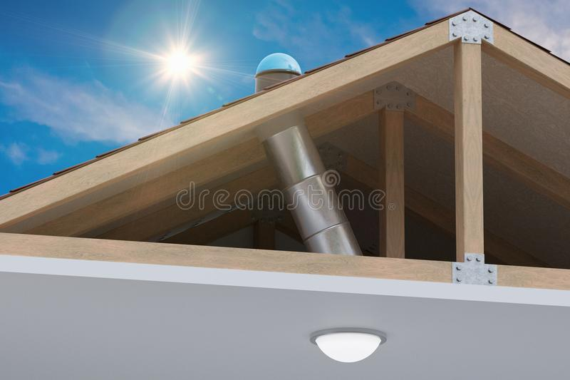 Sunlite light tube system for transporting natural daylight from roof into room. 3D rendered illustration stock photos