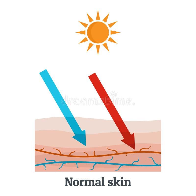 Sunllight正常皮肤象,平的样式 库存例证