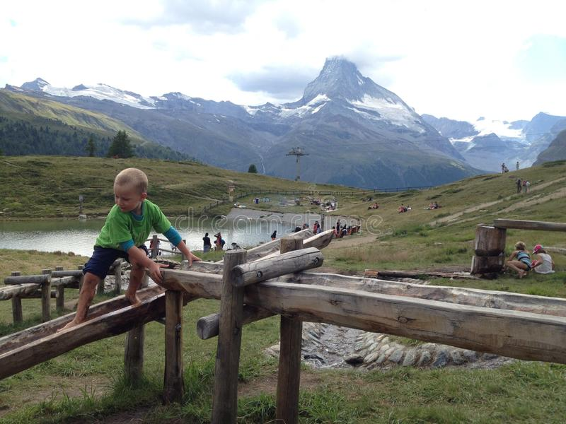 Sunnegga, Switzerland - August 15, 2018: Child playing in the Wolli theme park, Sunnegga Switzerland, is a sunny corner for the royalty free stock photo