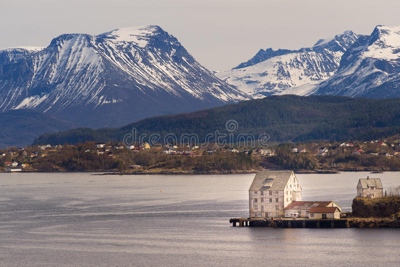 Sunnmorealpen Mountain View, Alesund, Noorwegen royalty-vrije stock fotografie