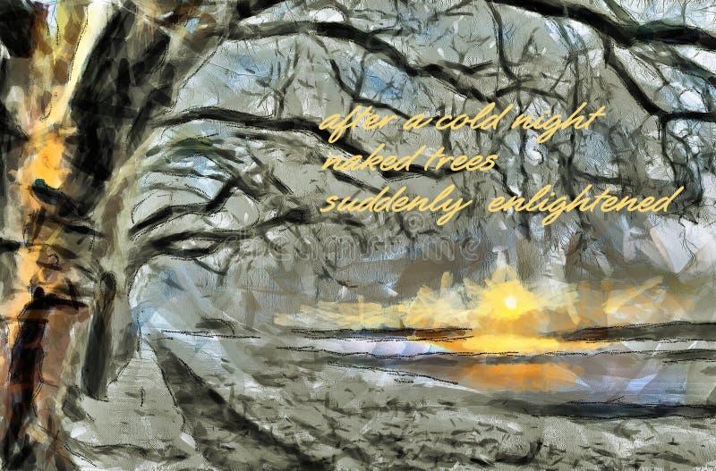 Sunnrise på sjön i December royaltyfri bild