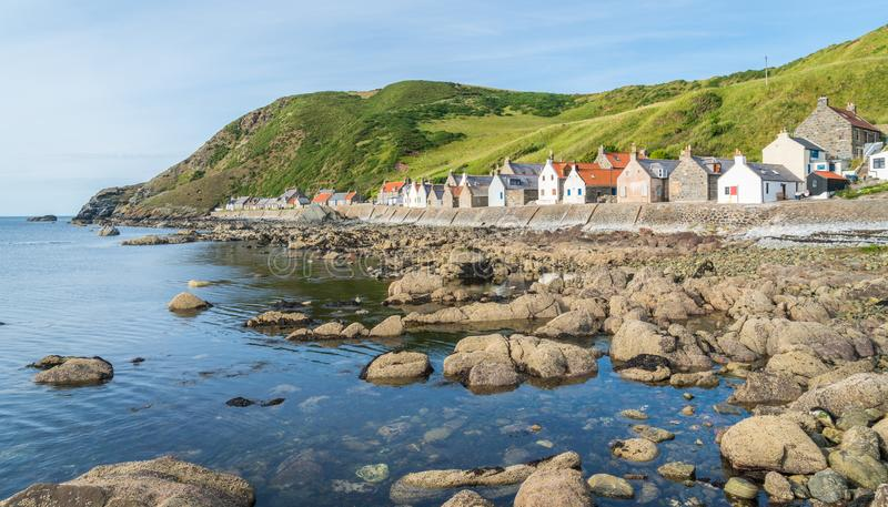 Sunny afternoon in Crovie, small village in Aberdeenshire, Scotland. royalty free stock images