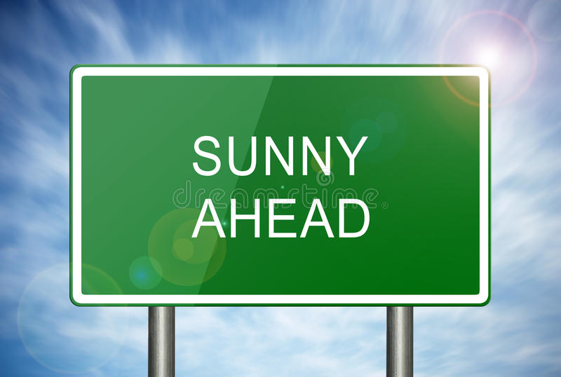 Sunny Ahead Road Sign stock afbeeldingen