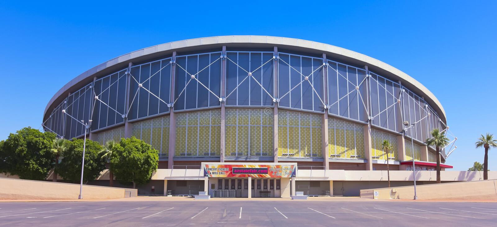 A Sunny Arizona Veterans Memorial Coliseum Shot. PHOENIX, ARIZONA - JUNE 5: The Arizona Veterans Memorial Coliseum on June 5, 2013, in Phoenix, Arizona. The stock photo