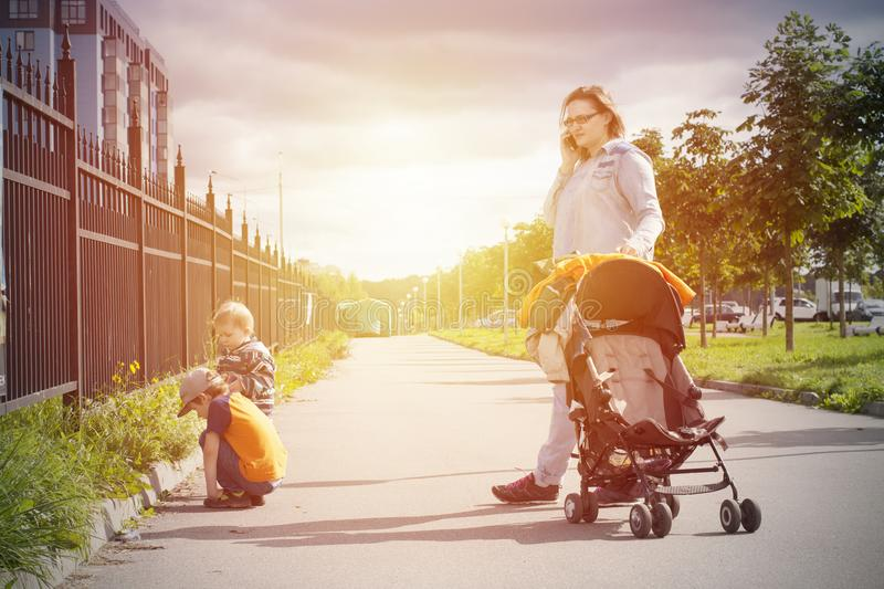 Sunny autumn family walking outdoor royalty free stock images