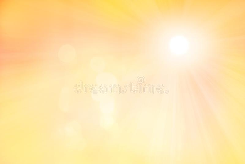 Sunny background with flares and sun rays. Sunny design backdrop with light flares and sun rays in shades of yellow colors royalty free stock images
