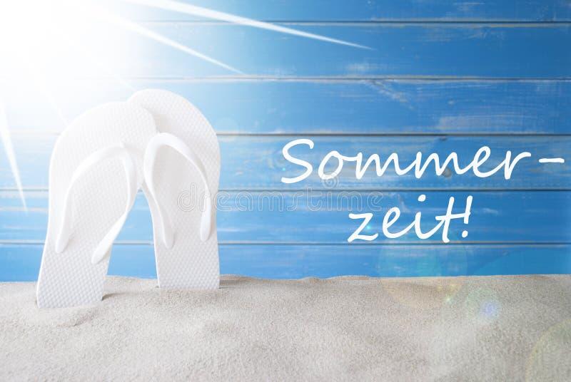 Sunny Background, Sommerzeit allemand veut dire l'heure d'été photographie stock