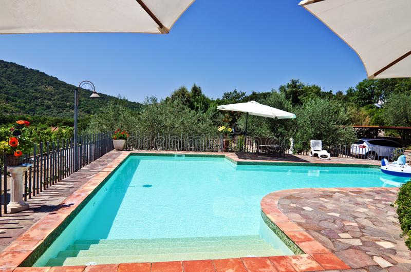 Sunny backyard swimming pool and patio royalty free stock images