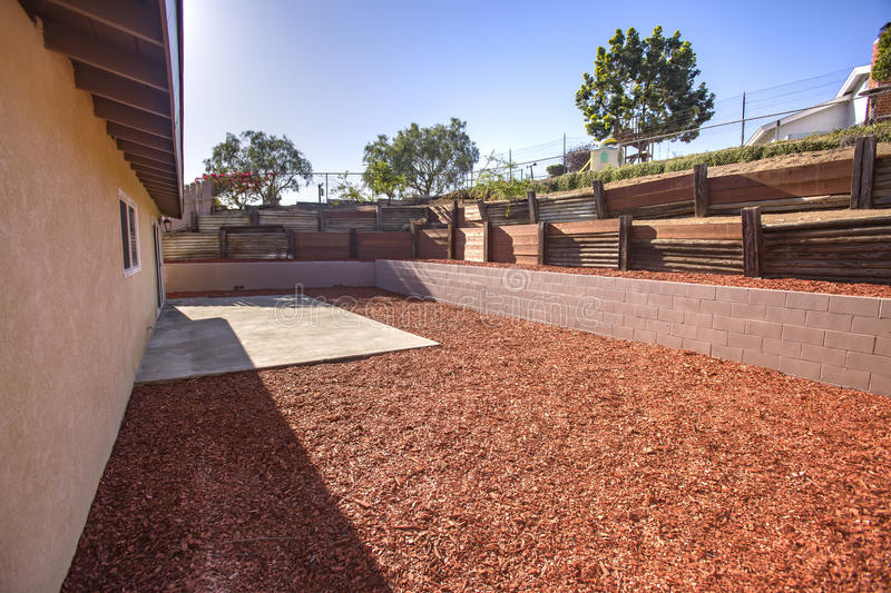 Download Sunny Backyard With Wood Chips And Wood Terraces In Sunny San  Diego California Stock Image