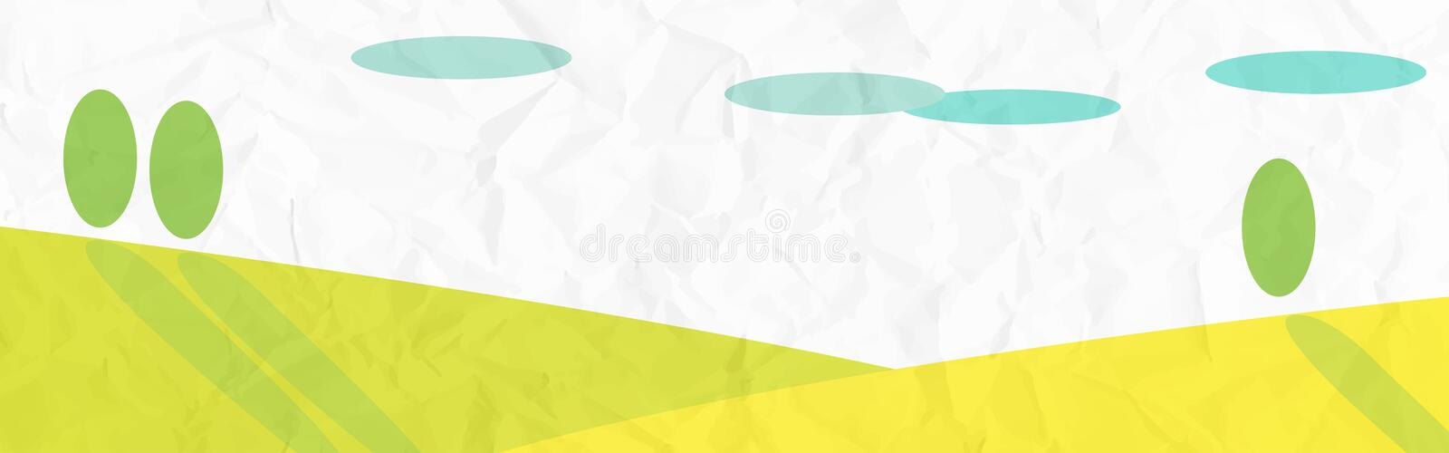 Sunny Banner. Vectored illustration of a sunny landscape, over the hills royalty free illustration