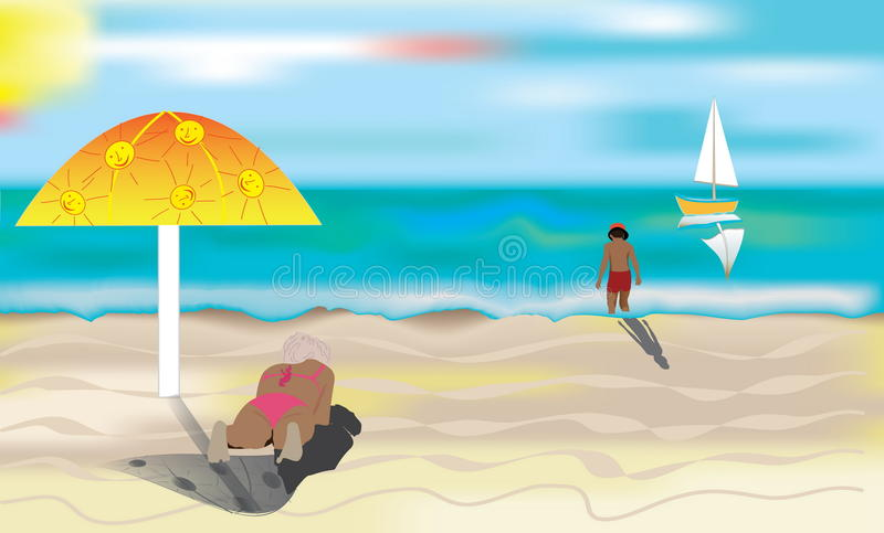 Download A sunny beach. stock vector. Image of relaxation, seashore - 23311221