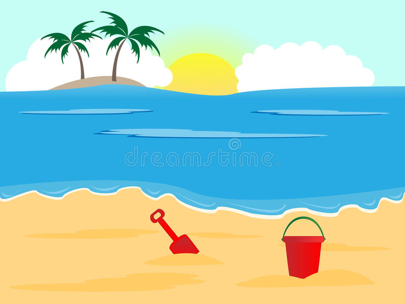 Download Sunny beach stock vector. Image of blue, paradise, outdoor - 25342211