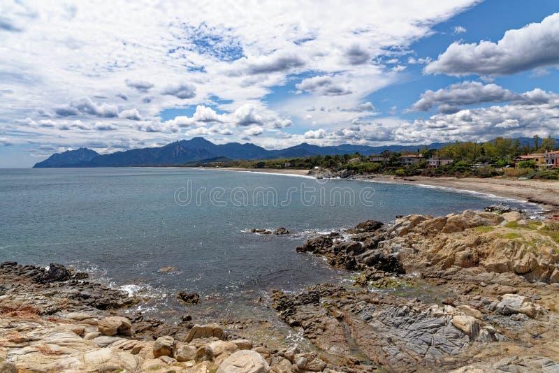 Sunny Beach - Bari Sardo - Italy. Sunny Beach - Bari Sardo, Ogliastra Province, Sardinia, Italy  - Photo taken on 19th of May 2019 stock photo