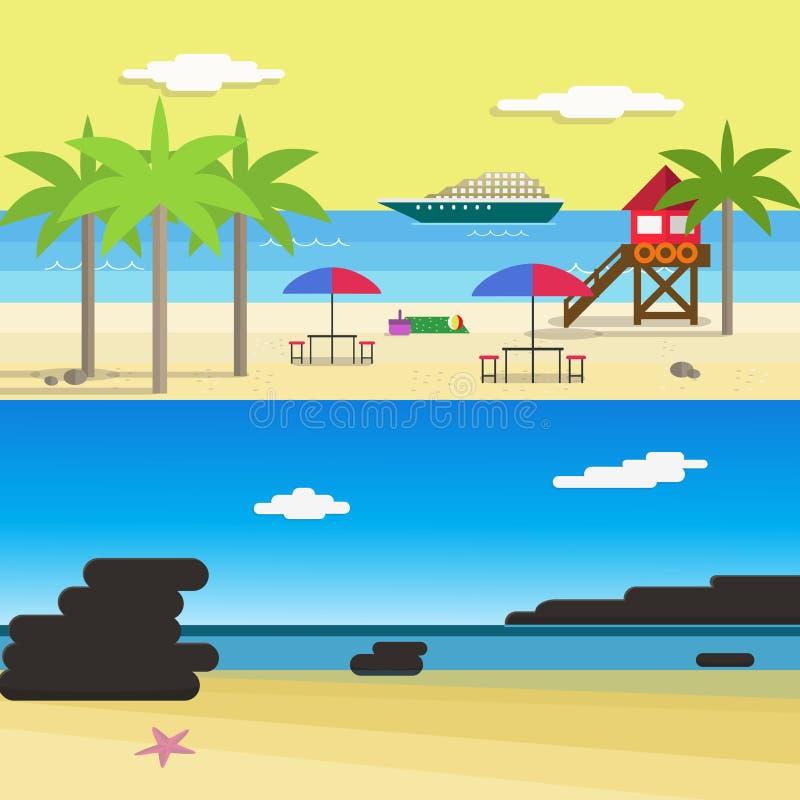 Sunny Beach für Sommer-Berufung Flache Artvektorillustration lizenzfreie abbildung
