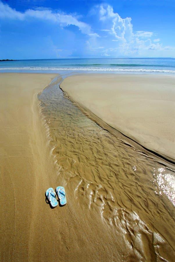 Sunny beach, flip flops on sand stock images