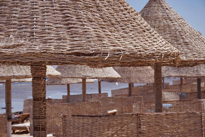 Sunny beach with palm trees and wicker from reeds beach umbrellas on a background of calm sea and blue sky. Sunny beach with palm trees and wicker from reeds stock photo