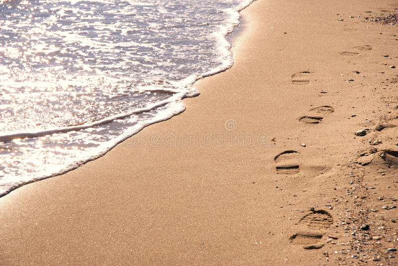 Sunny beach with steps stock image