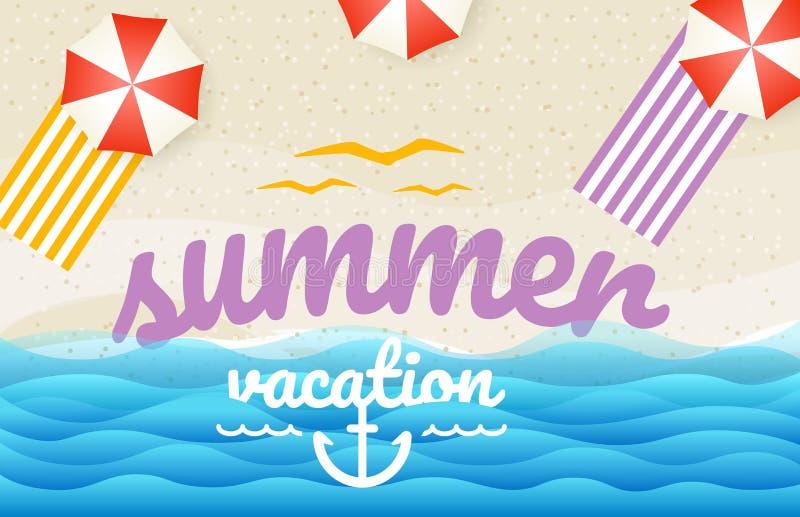 Sunny beach top view illustration stock illustration