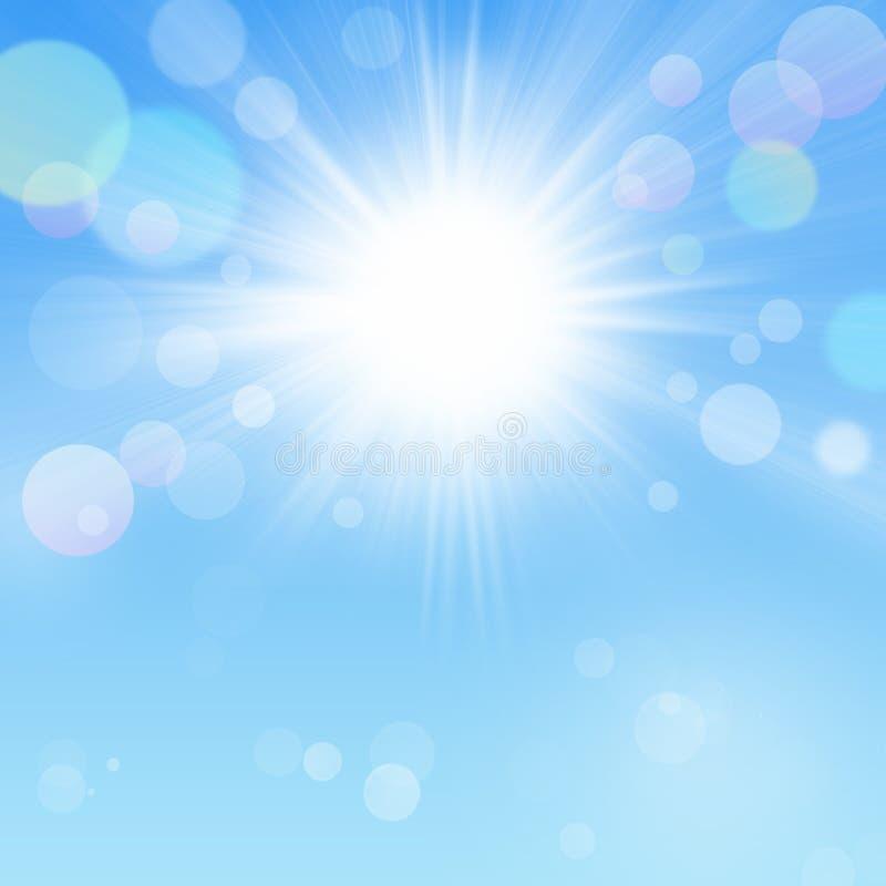 Sunny Bokeh Background Blue Sky with Sun vector illustration