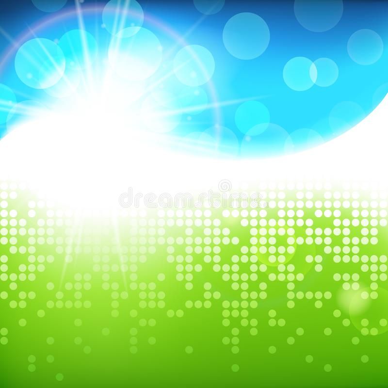 Sunny bright green blue vector background, green natural eco technology, spring summer abstract illustration vector illustration