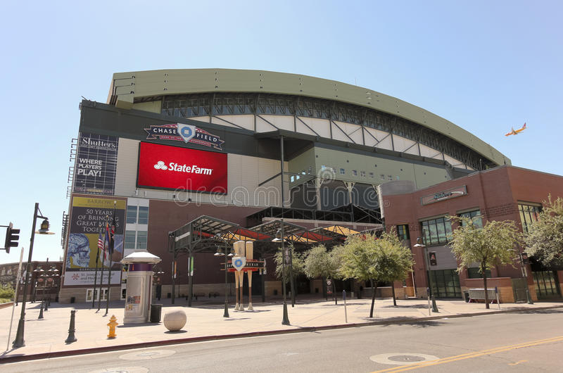 A Sunny Chase Field, downtown Phoenix, Arizona. Phoenix, Arizona - June 13: Chase Field on June 13, 2012, in Phoenix, Arizona. Chase Field is the home of MLB's royalty free stock photography