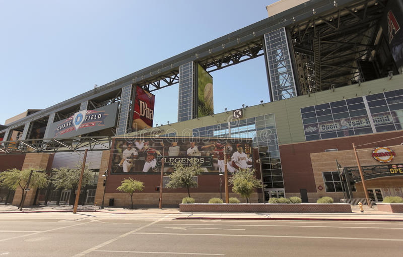 A Sunny Chase Field, downtown Phoenix, Arizona. Phoenix, Arizona - June 13: Chase Field on June 13, 2012, in Phoenix, Arizona. Chase Field is the home of MLB's royalty free stock images
