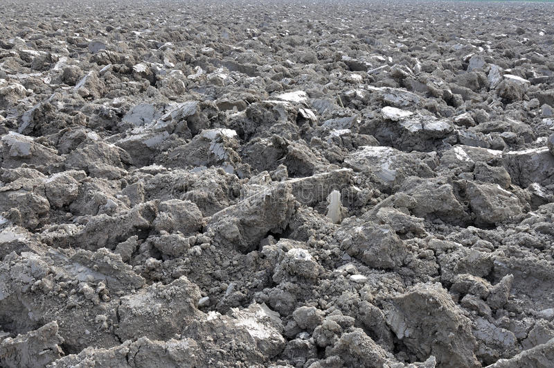 Sunny clods near po river #2. Sunny grey clods in ploughed field near po river, parma countryside, emilia stock photography