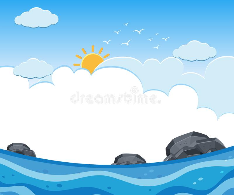 A Sunny and Cloudy Ocean View stock illustration