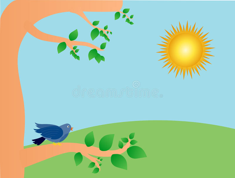 Sunny day. A beautiful scene of a sunny day stock illustration