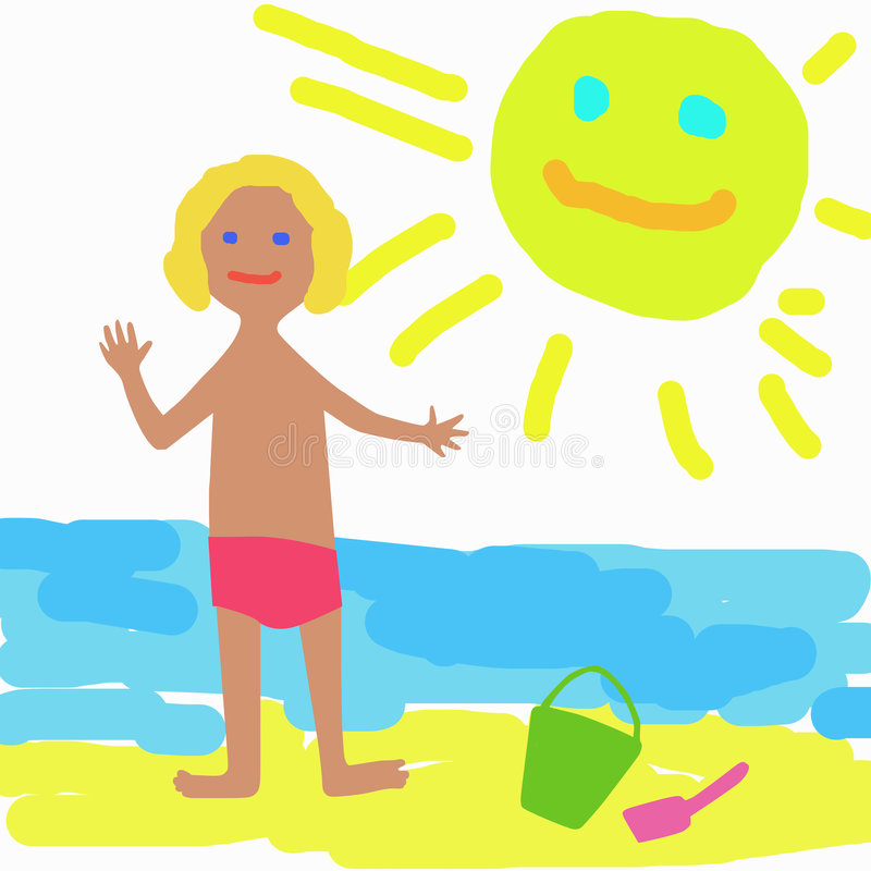 Sunny day. Child and sea stock illustration