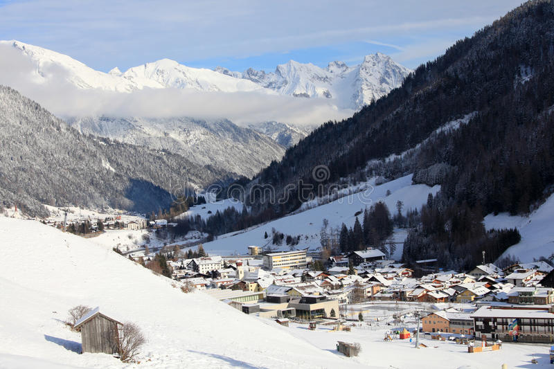 Sunny day in alps village royalty free stock photos