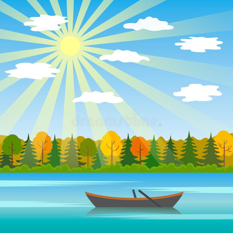 A sunny day is an autumn landscape with a lake and a boat in the background of a forest vector illustration