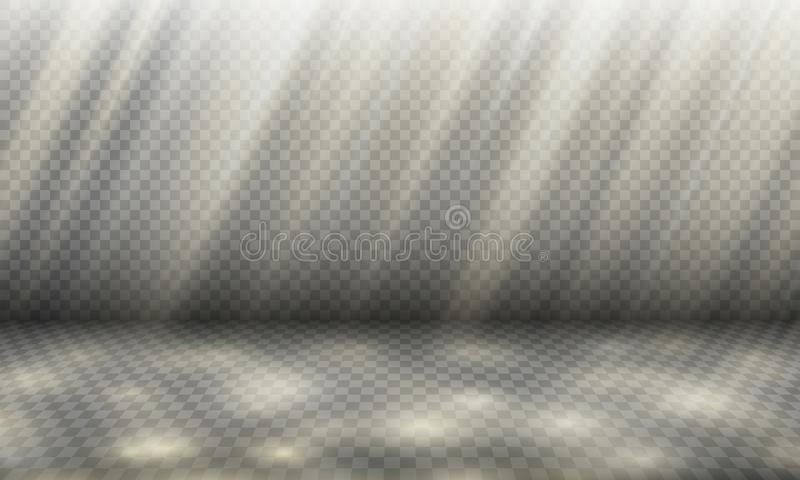 Sunny day background template, shade and light vector illustration, sunlight rays with sun spots on a plane of ground surface. With perspective, 3D light effect stock illustration