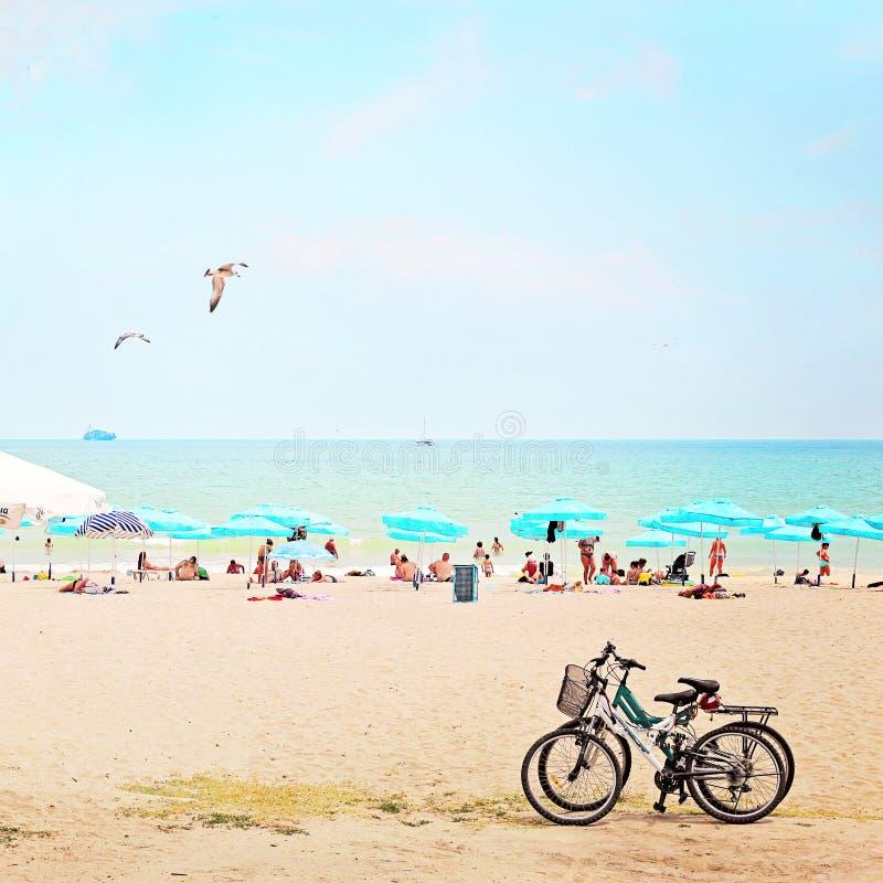 Sunny day on beach in Bulgaria stock photos