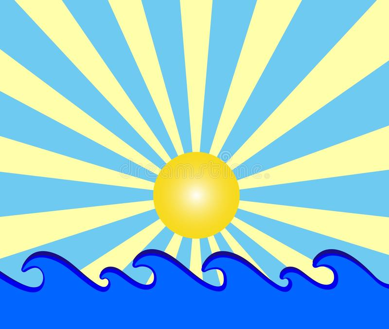 Sunny day with blue waves. Illustration of a sunny day with blue waves royalty free illustration