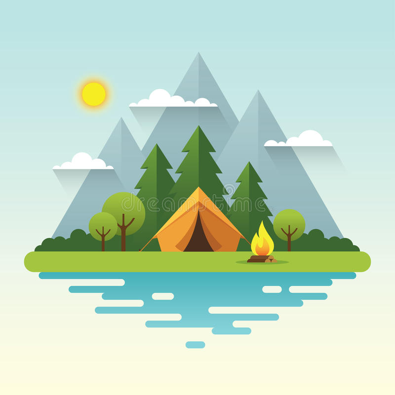Sunny day camping illustration in flat style. Sunny day landscape illustration in flat style with tent, campfire, mountains, forest and water. Background for stock illustration