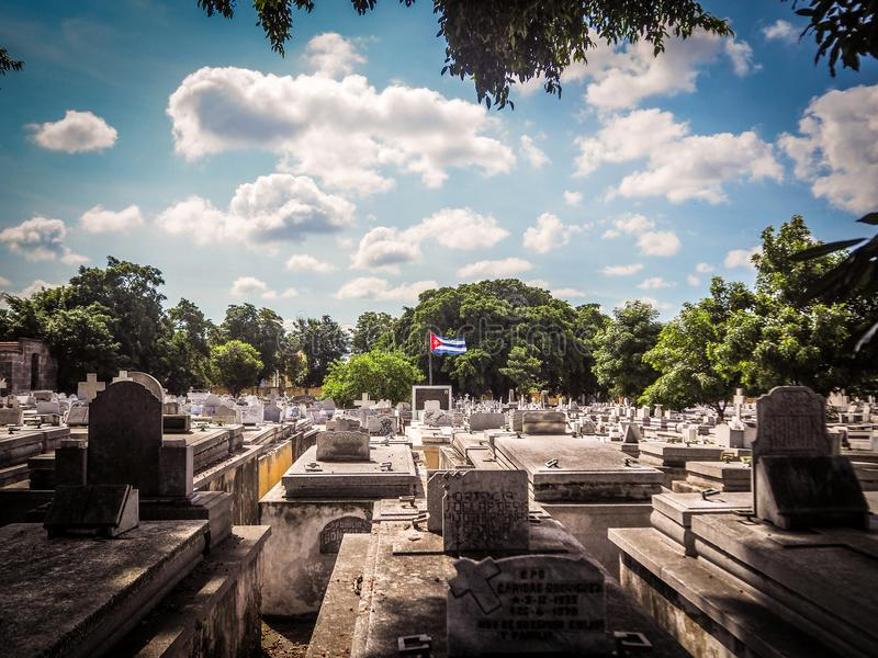 View of the a cementery in Havana with cuban flag stock photo