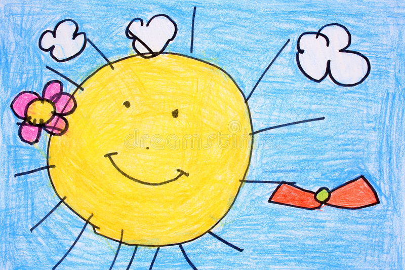 Sunny day- crayon drawing. Sunny day with blue sky - made by child vector illustration