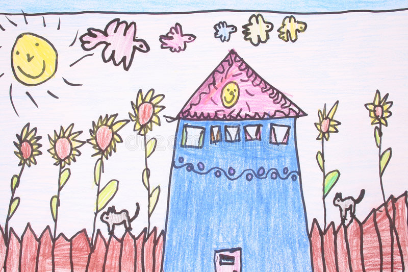 Sunny day- crayon drawing. New home sunny day with blue sky - made by child royalty free illustration