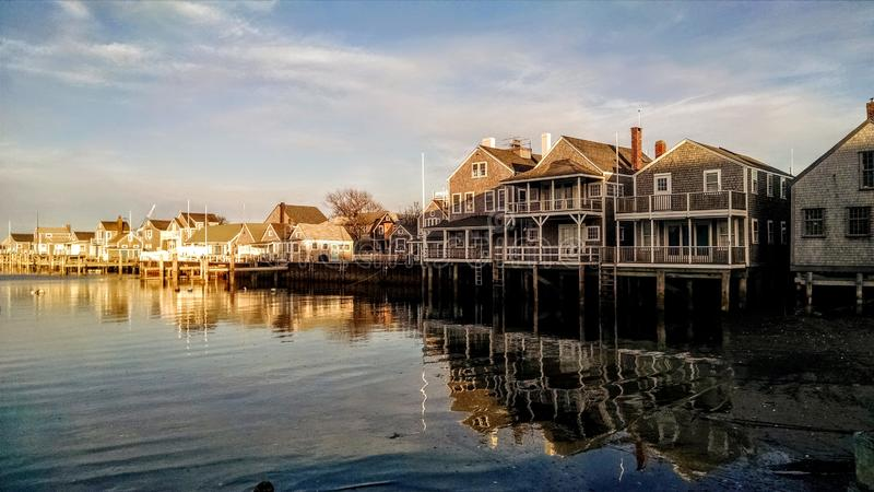 Sunny day at the Easy Street Boat Basin, Nantucket, Massachusetts stock photo