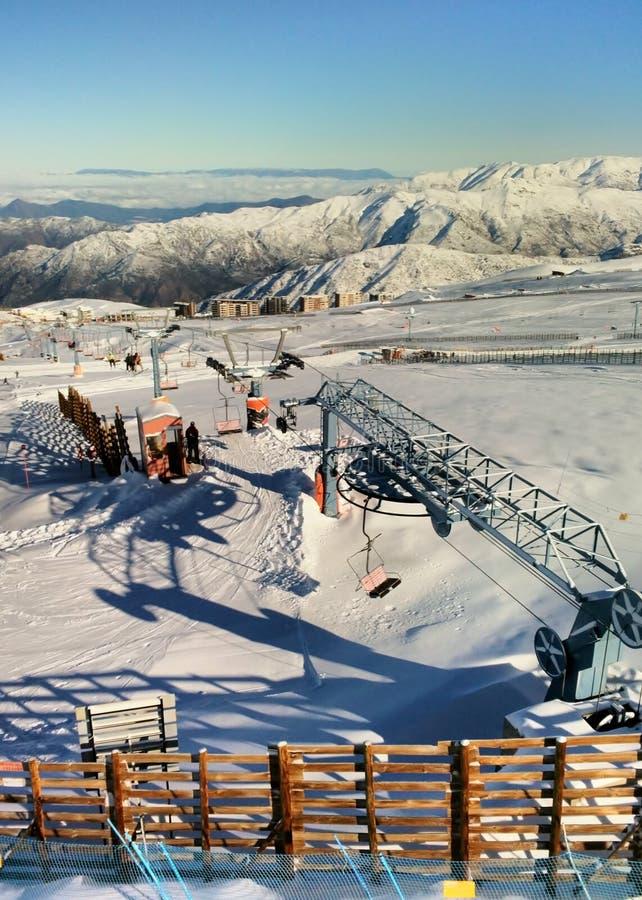 El Colorado ski resort near Santiago. Sunny day at El Colorado ski resort near Santiago, Chile stock photo