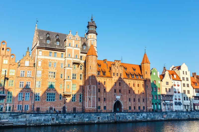 Embankment of Motlawa river in historical part of Gdansk, Poland. Sunny day at embankment of Motlawa river in historical part of Gdansk, Poland royalty free stock photography