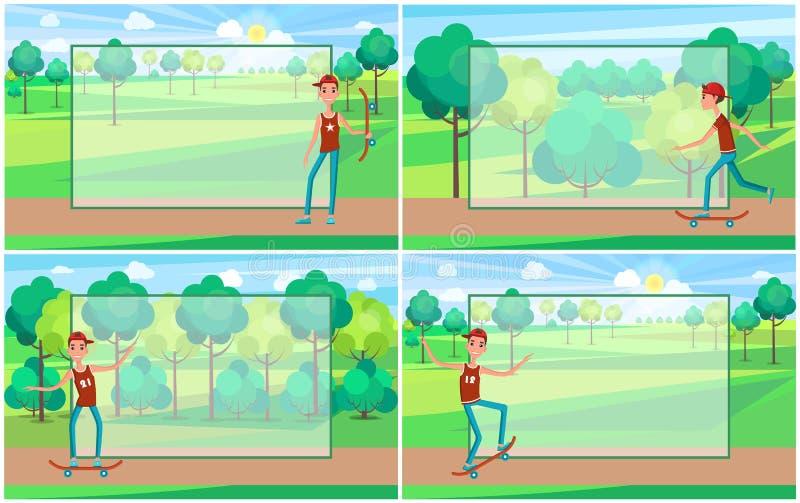 Sunny Day en parc vert, ado sur sa planche à roulettes illustration libre de droits