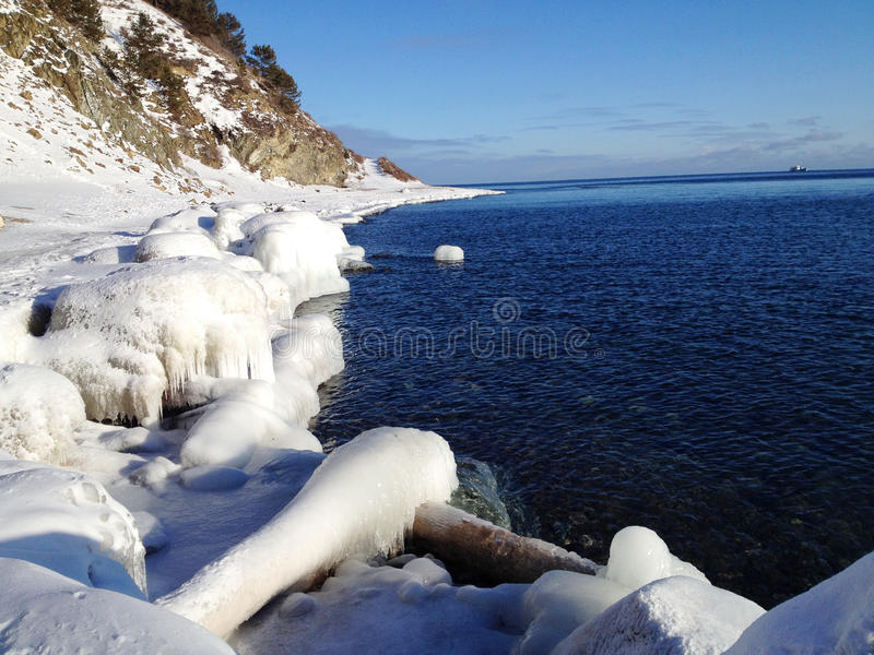 Sunny day at the lake Baikal royalty free stock photos