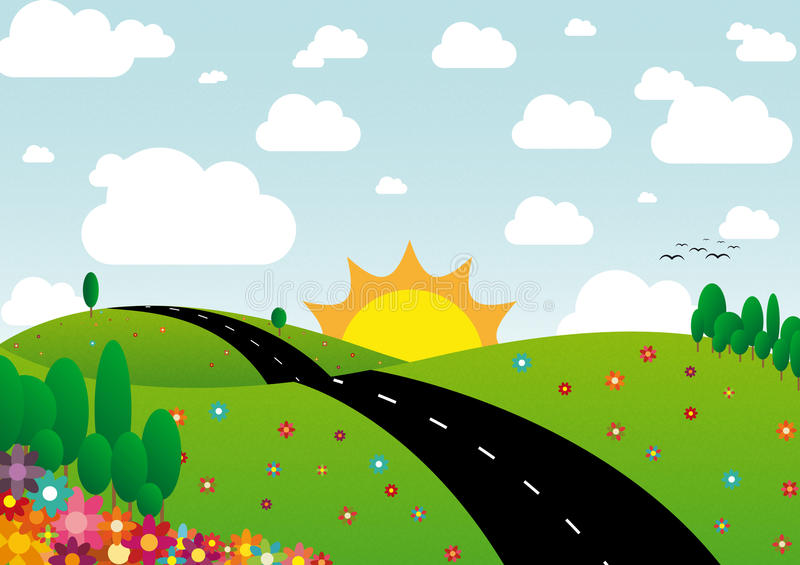 Sunny day landscape. Illustration of sunny day landscape with flowers, trees and clouds stock illustration