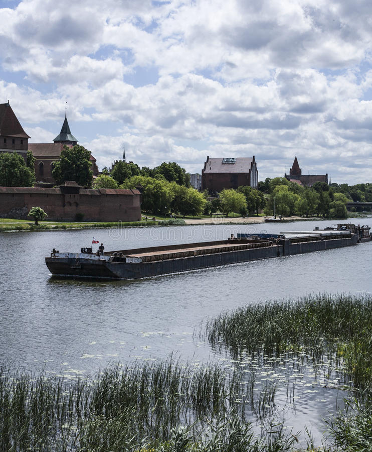 Sunny day in Malbork. This picture shows a view of some of the buildings belonging to the Malbork castle complex. Malbork is a home to the world's biggest brick royalty free stock photography