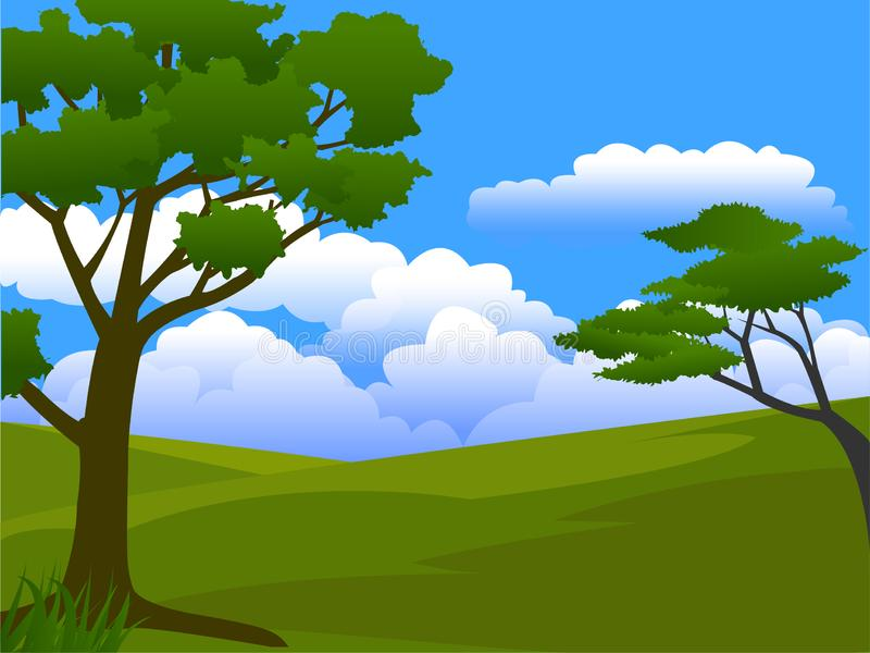 Sunny day in meadow. A view of a trees in green field in sunny day royalty free illustration