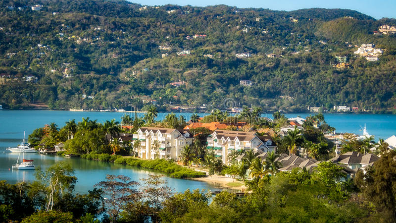 Sunny Day in Montego Bay, Jamaica. Panoramic view of Montego Bay, Jamaica on a stunning spring day royalty free stock image